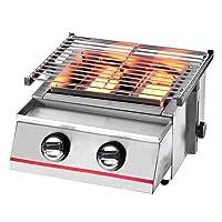 Tischbräter 2-flammig kleiner silber Tableroaster Balkon ✔ eckig ✔ Grillen mit Gas ✔ für den Tisch