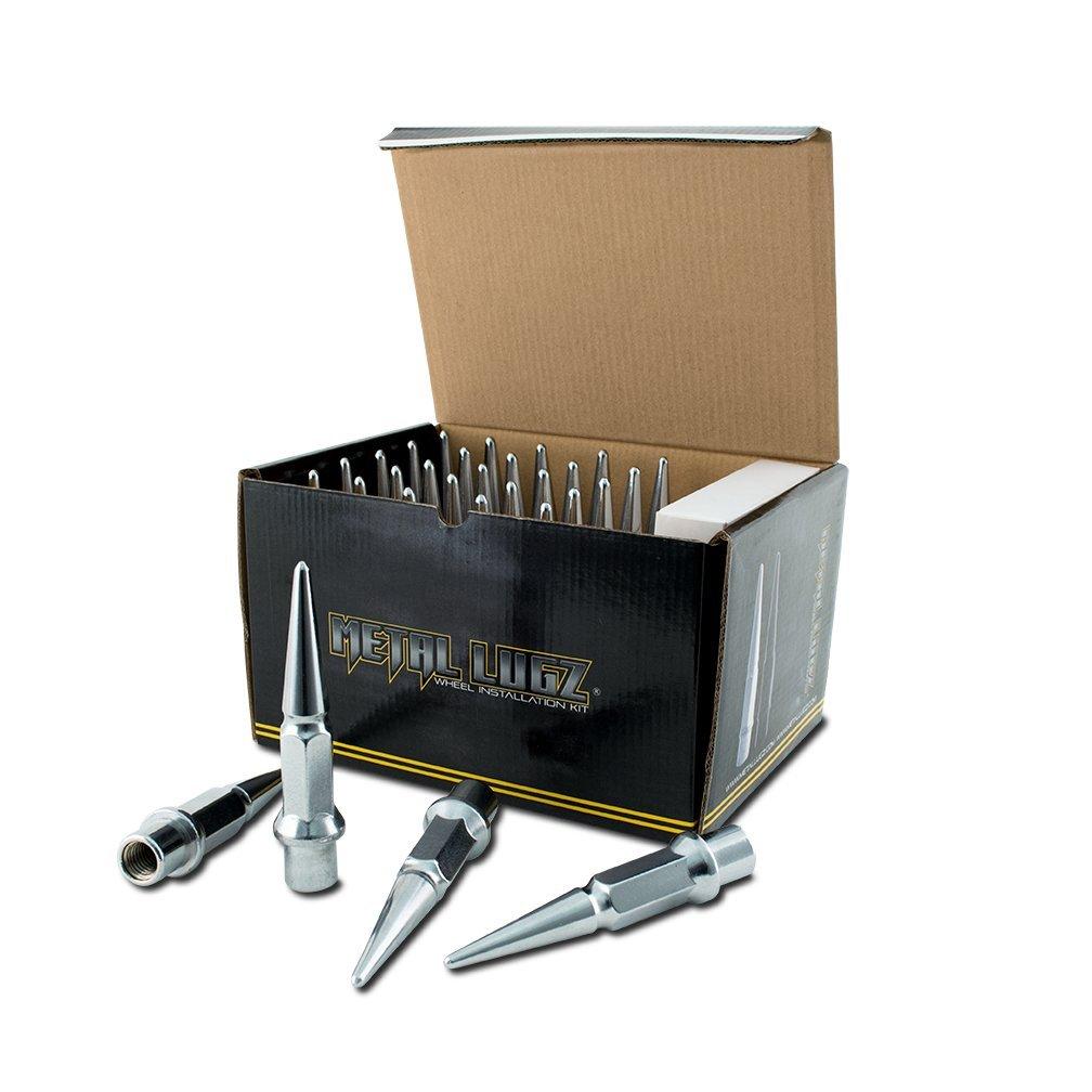Metal Lugz Spiked Lugz - Dually Chrome 14x1.5 thread 4.9'' overall length kit contains 32 Lugs & 1 Key
