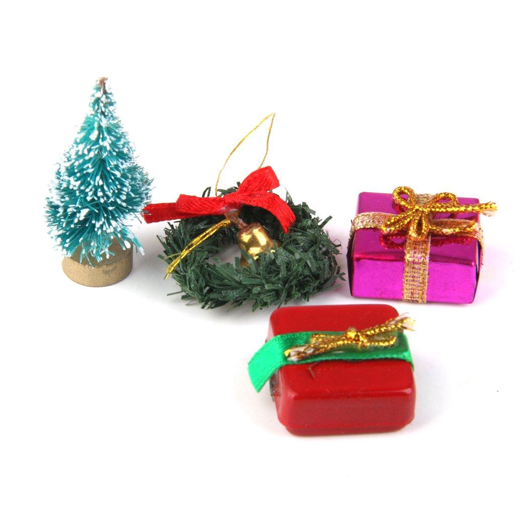 1/12 Doll House Miniature Christmas Tree Garland Gift Set of 4pcs Generic JPA15015650