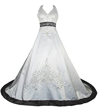 RohmBridal Embroidery Satin Halter Wedding Dress Bridal Gown Ivory Black  Size 0 669935fe9371