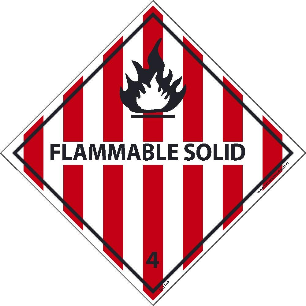 DL11ALV National Marker Dot Shipping Label, Flammable Solid 4, Inches x 4 Inches, Ps Vinyl, 500/Roll