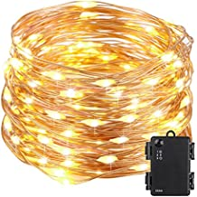 Kohree 100 Micro LEDs Christmas String Light Battery Powered on 33ft Long Ultra Thin String Copper Wire, Decor Rope Flexible Light with Timer and Battery Box Perfect for Weddings, Tree, Party, Xmas