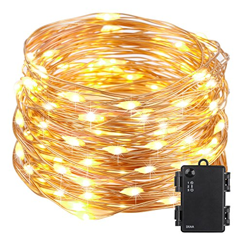 Led String Lights Battery (Kohree 100 Micro LEDs Christmas String Light Battery Powered on 33ft Long Ultra Thin String Copper Wire, Decor Rope Flexible Light with Timer and Battery Box Perfect for Weddings, Tree, Party, Xmas)