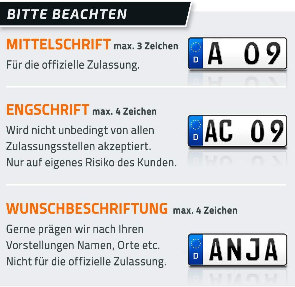 kurzes Autokennzeichen 330 x 110 mm individuelles EU Wunschkennzeichen DHL-Versand DIN-Zertifiziert Auto-Schild Fahrradtr/äger /& Anh/änger PKW Nummernschild schildEVO 2 Kfz Kennzeichen