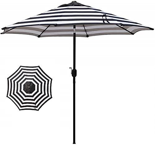 9 Foot Patio Umbrella Aluminum Outdoor Market Wind Black White Stripe Finish Polyester Canopy Material