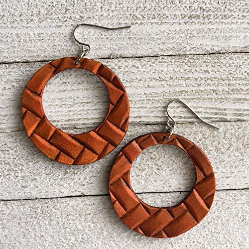 Woven Look Embossed Genuine Leather Hoop Earrings in Saddle Brown