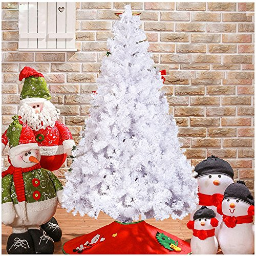 White Christmas Trees - Livebest 7 foot Artificial Gorgeous PVC Christmas Tree with 1000 Tips