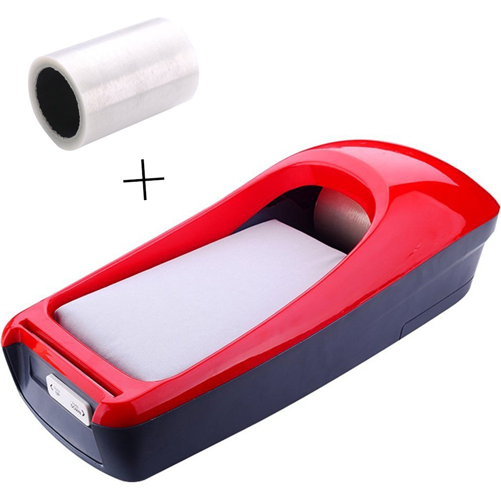 A.B Crew Portable multicolor Automatic Shoe Cover Dispenser for Hygiene Areas Boats Yachts Food Production Home (Red Shoe Cover Dispenser + Shoe Membrane)