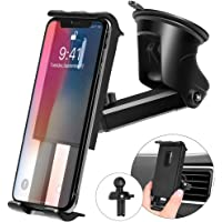 Kaome 3 in 1 Phone Holder with Suction Cup for Car (Black)