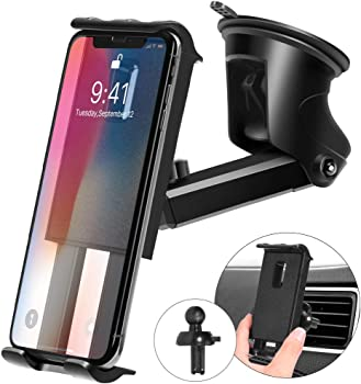Kaome 3 in 1 Phone Holder with Suction Cup for Car
