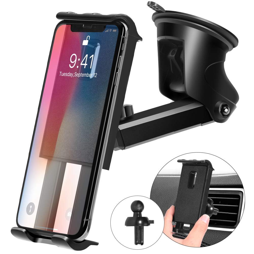 Kaome 3 in 1 Phone Holder for Car Phone Mount Suction Cup Universal Air Vent Windshield Dashboard for iPhone Xs Max/XR/X/8/7/iPad Mini/Galaxy S10/S9 by Kaome