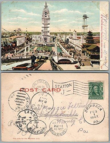 Coney Island Dreamland (BROOKLYN N.Y. CONEY ISLAND DREAMLAND FROM CHUTES 1907 ANTIQUE POSTCARD)
