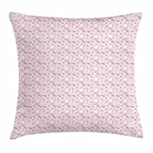 Pink and White Throw Pillow Cushion Cover, Unicorn Cat and Pug Mermaid Candies Rainbows Sun and Clouds Sweet Dreams, Decorative Square Accent Pillow Case, 18 X 18 Inches, Pink White