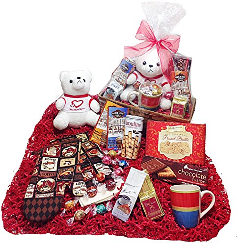 Valentines Day Candy & Chocolate Gifts Basket - Lindt Lindor Truffles Gourmet Chocolate Candy, Coffees, Cappuccinos,Towel, Potholder,, Cookies, Peanut Brittle & Plush Teddy Bear (Chocolate Gift Basket Lovers)