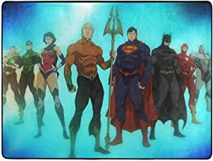 Justice League_ Throne of Atlantis Area Rugs Bedroom Camping Soft Carpets Kids Living Room Boys Girls Room Area Rug Nursery Home Decor Carpet 63 X 48 Inches