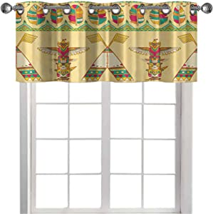 Kitchen Curtains valances, Native American Indigenous Ornamental Seamless Pattern Background with Wigwam and Totem Poles, 1 Panel 42