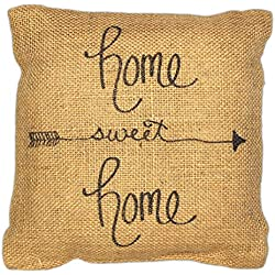 Country House Collection Primitive Sentimental Burlap Jute 8 x 8 Throw Pillow (Home Sweet Home)