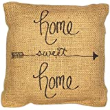 country house collection primitive sentimental burlap jute 8 x 8 throw pillow home sweet home