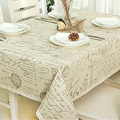 ColorBird Shabby Chic Cotton Linen Tablecloth Letter Printed Macrame Lace Dustproof Table Cover for Kitchen Dinning Pub Tabletop Decoration