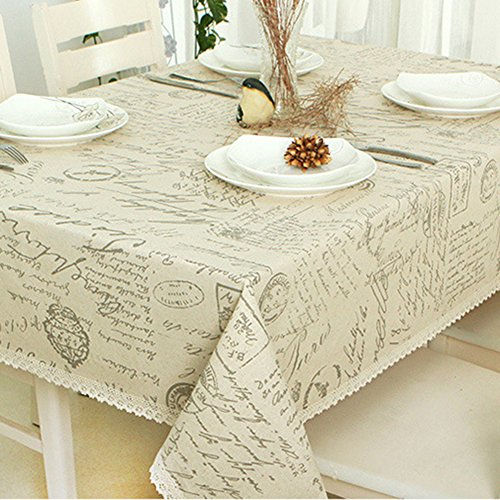 "ColorBird Shabby Chic Cotton Linen Tablecloth Letter Printed Macrame Lace Dustproof Table Cover for Kitchen Dinning Pub Tabletop Decoration (Rectangle/Oblong, 55""x86"", Postmark)"