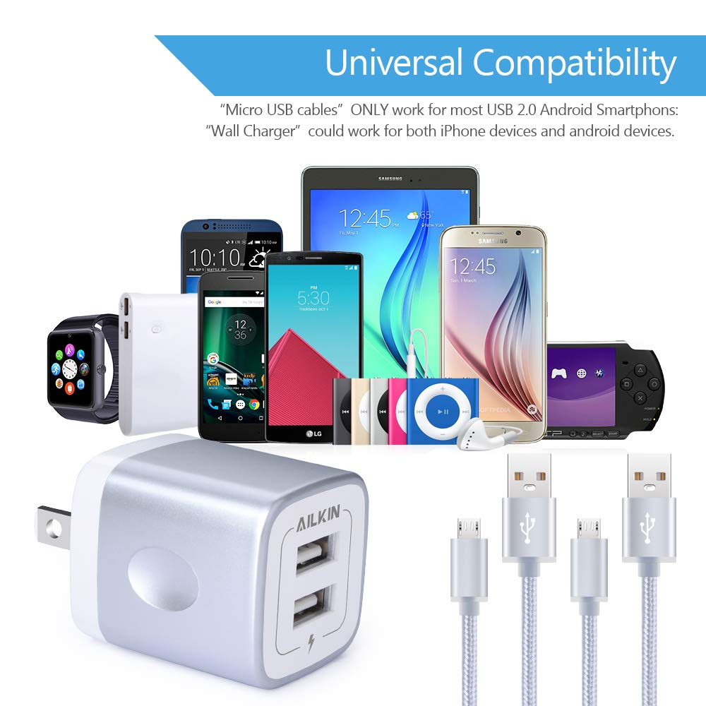 Micro USB Charger, Samsung Galaxy J7 Charger, Ailkin Rapid 2Port USB Wall Charger Base & 2Pack Fast Charging Cords for LG G4 Stylo 2 Charger, Cargador ...