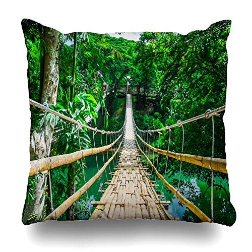 - Ahawoso Throw Pillow Cover Link Bamboo Pedestrian Suspension Bridge Over River in Jungle Tropical Forest Philippines Nature Decor Zippered Cushion Case 18
