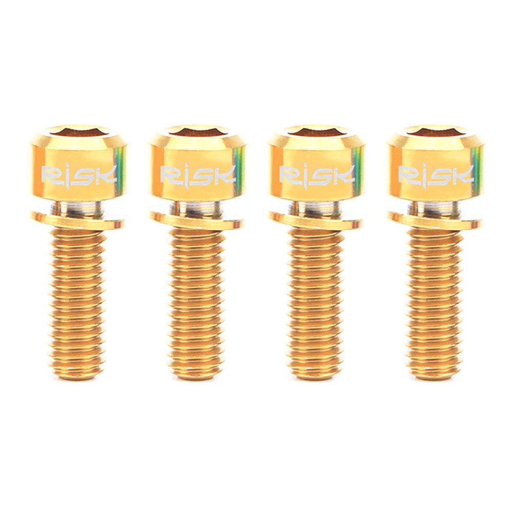 Lixadaリスク4pcs m6 × 18 / 20 mmチタンTiボルトネジfor MTBディスクブレーキキャリパーwith Adaptorスペーサ B074JCPGZ9 Gold-20mm Gold-20mm