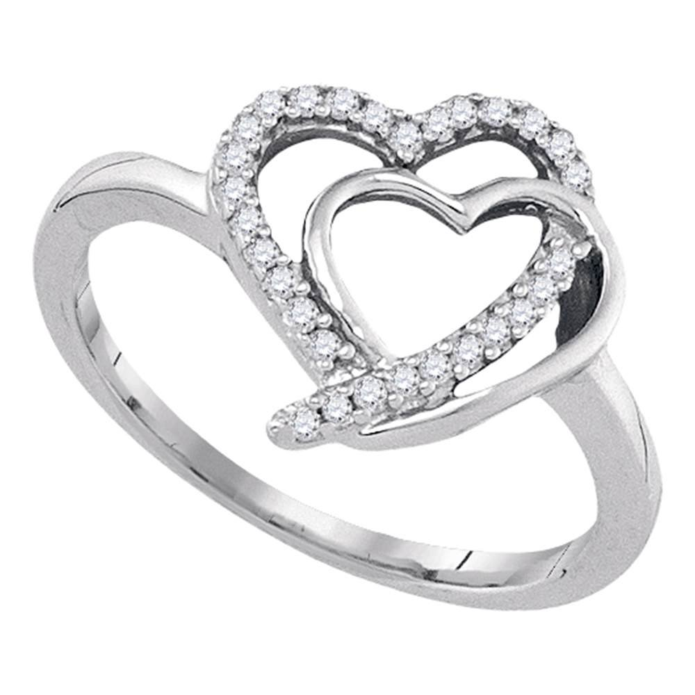 Sterling Silver Diamond Heart Ring Love Band Two Hearts Together Promise Style Curve Fashion 1/6 ctw Size 8