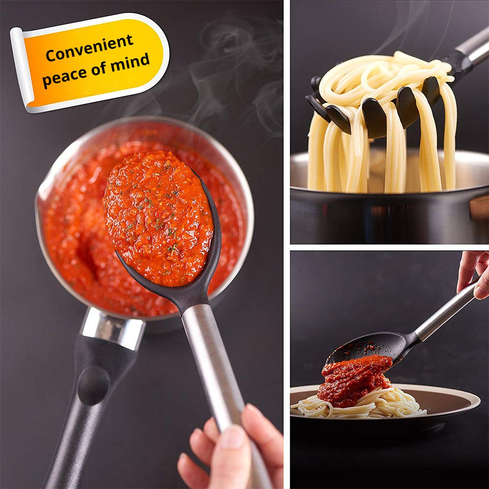 LY-LONGER Silicone Stainless Steel Kitchen Utensils Set of 8 Nonstic Cook Utensils Heat Resistant Tools Gadgets with Spatula Solid Spoon Soup Ladle Whisk Spaghetti Server Slotted Turner Skimmer Tongs