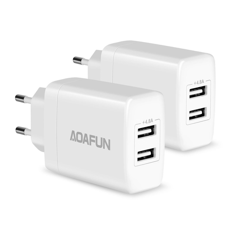 AOAFUN Dual Port 4.8A 24W USB Cargador de Pared de Viaje PowerPort 2, para