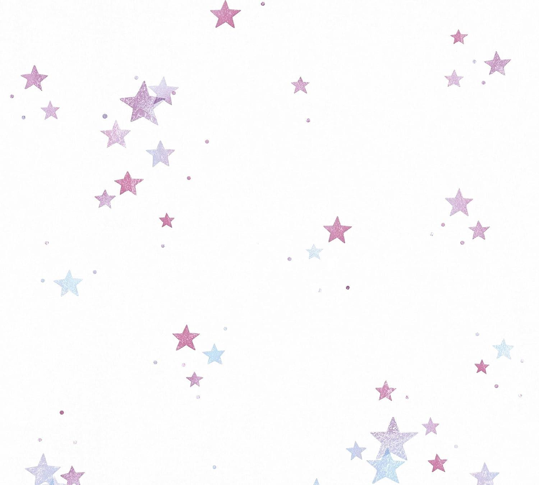 Esprit Kids Papiertapete Stars Tapete mit Sternen 10,05 m x 0,53 m blau lila wei/ß Made in Germany 356963 35696-3