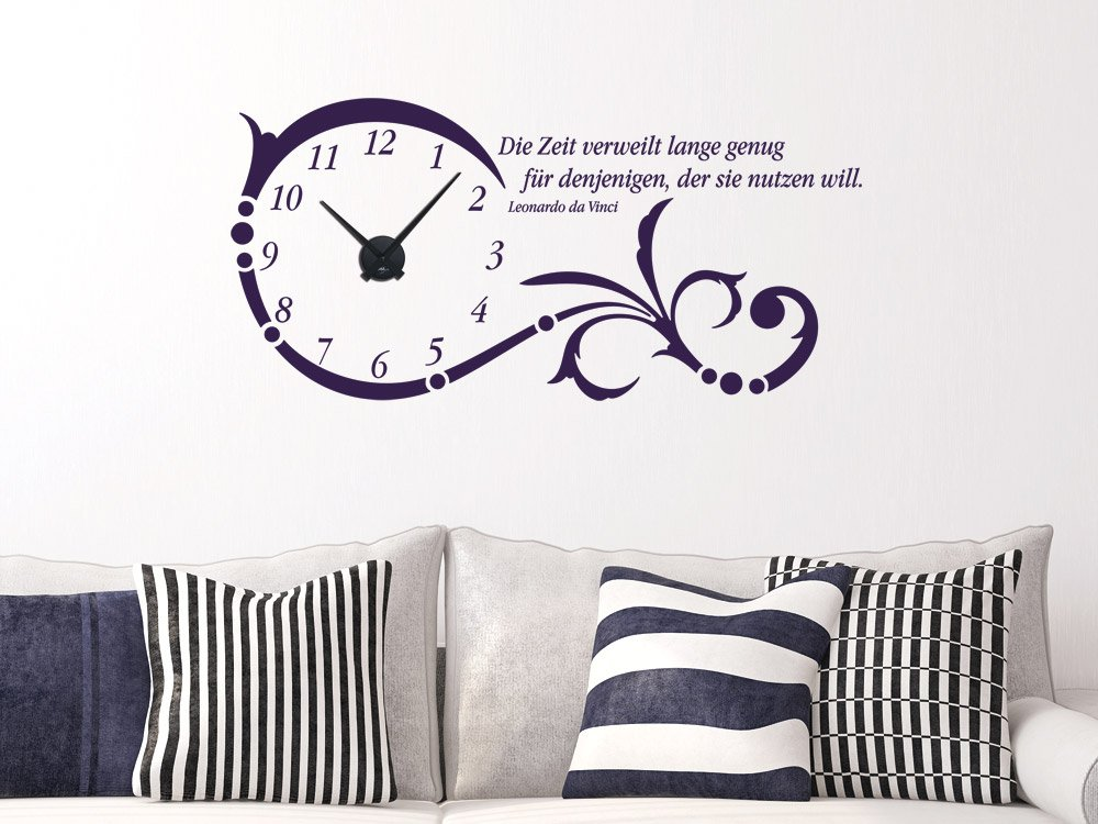 GRAZDesign Wanduhr groß Aufkleber Ornament mit mit mit Spruch - Wandtattoo Uhr mit Uhrwerk Die Zeit verweilt Lange genug - Uhren Wand Tattoo mit großen Zahlen   119x57cm   800331_GD_080 B00GTU9N2Q Wandtattoos & Wandbilder 9c1d53