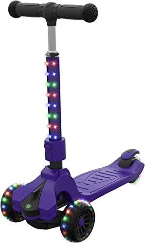 Jetson Saturn Folding 3-Wheel Kick Scooter with Light-Up Stem Deck, Lean-to-Steer Design with Sturdy Wide Deck Adjustable Height, for Kids 3 Up