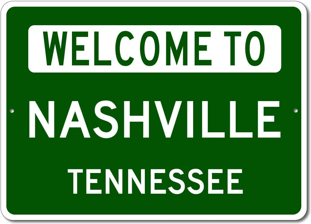 Nashville, Tennessee - Welcome to US City State Sign - Metal Street Sign, Man Cave Wall Decor, Personalized Gift Idea, US City Welcome Sign, Made in USA - 10x14 inches