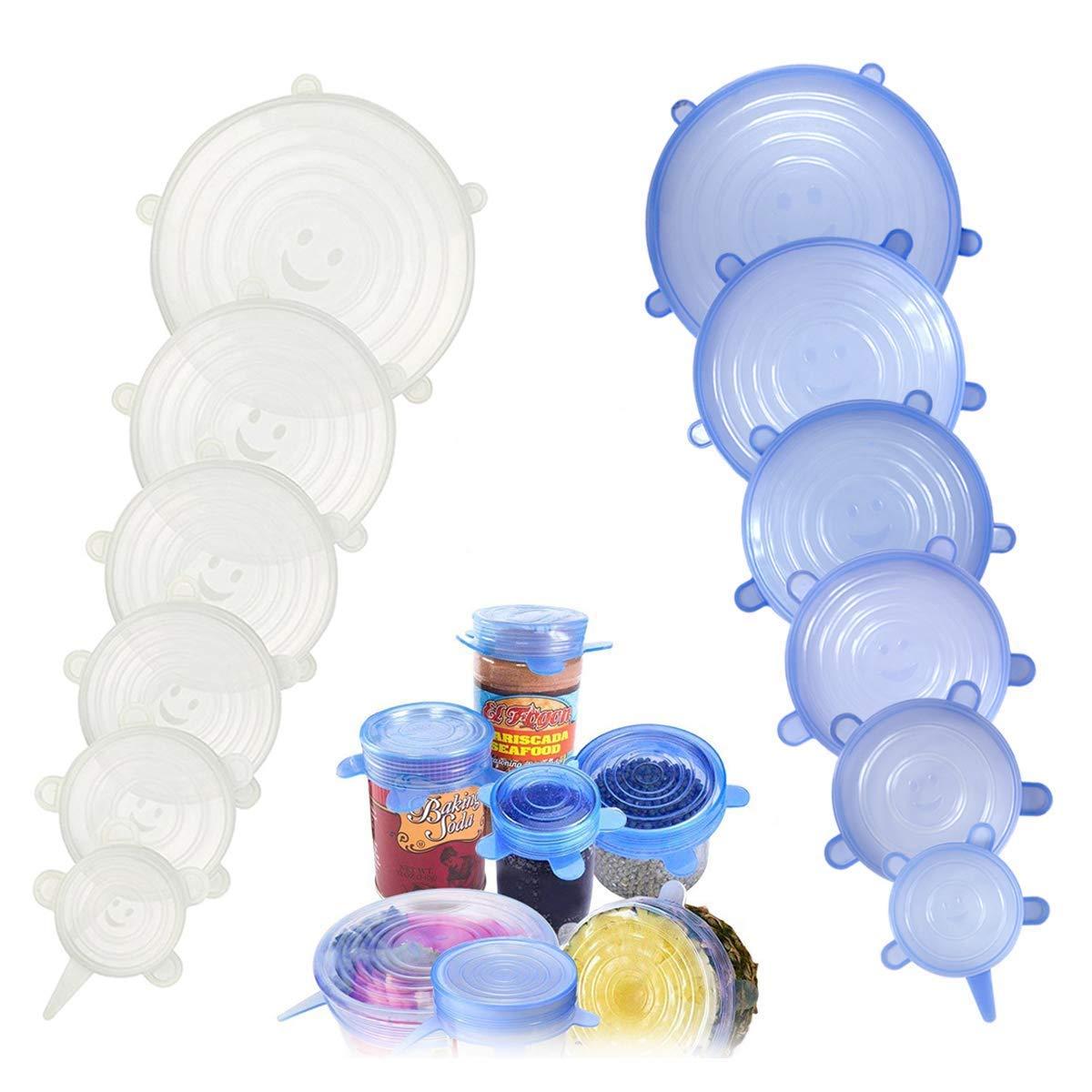Coperchio in Silicone Estensibile 12Pcs, Silicone Stretch Coperchi. Riutilizzabile da Silicone Bowl Lids Food Saver Covers Wrap Bowl Pot Cup Coperchio Confezione da 6 Blue+6 Trasparente 301-03679-W00