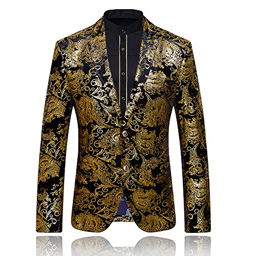 WEEN CHARM Men's Designer Floral Printed Single Breasted Two Button Modern Fit Tux Blazer Jacket Coat (L, Gold) -
