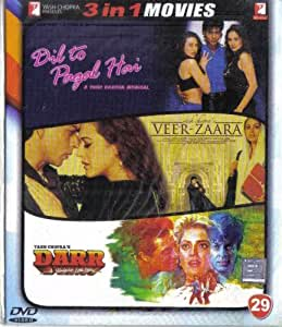 Dil To Pagal Hai / Veer-Zaara / Darr(3 in 1 - 100% Orginal DVD Without Subtittle)