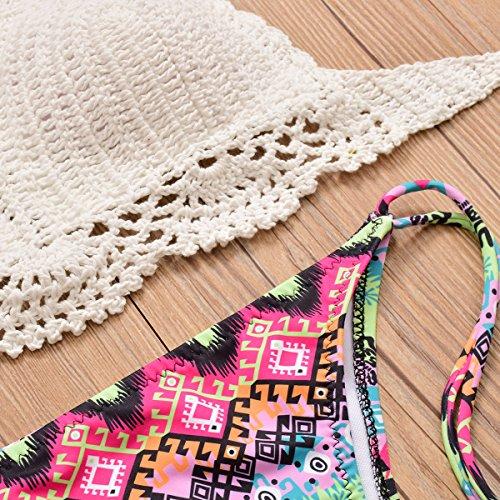 Uskincare Traje de Baño Mujer Tejido de Punto Bikini Bañador Bajo la Cintura Playa Mar Verano H01-Rosa