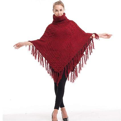 Capa del Poncho del mantón Capa de Cuello Alto de Invierno/Autmn para Mujer Tejido