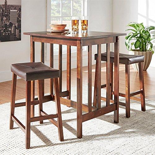 HOME Nova 3-piece Kitchen Counter Dinette Set Bar Height Table and 2 Upholstered Saddleback Stools Espresso
