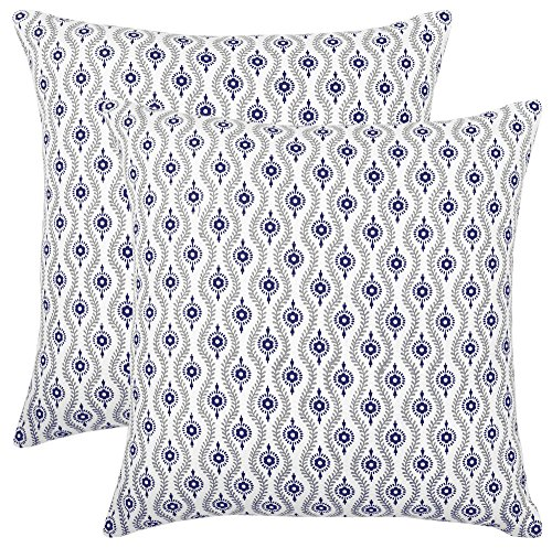 Bath Bed Decor Pack of 2 Accent Decorative Throw Pillow Covers Cushion Cases Cushion Covers Pillowcases in Cotton Canvas with Hidden Zipper Slipcovers for Couch Sofa Bed (20 x 20 Inches;Navy) ()