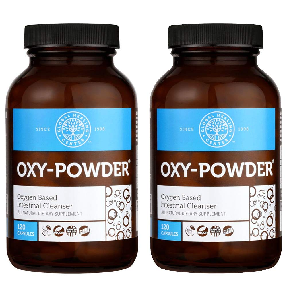 Global Healing Center Oxy-Powder Colon Cleanse Detox – Oxygen Based Safe and Natural Intestinal Cleanser 120 Capsule 2-Pack