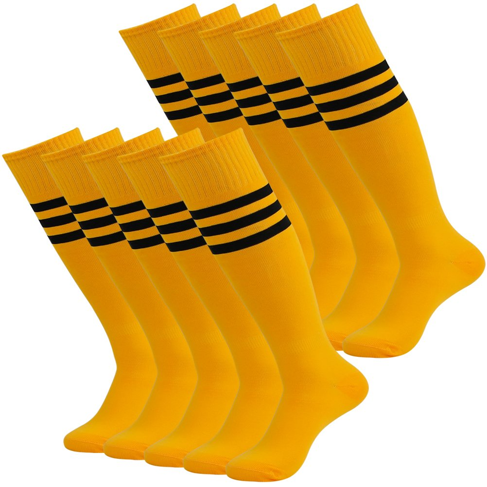Sport Baseball Socks Yellow, Volleyball Socks Men, Mifidy Unisex Knee High Football Soccer Team Sports Tube Long Socks for Men 10 Pairs Socks with White Triple Stripes by Mifidy