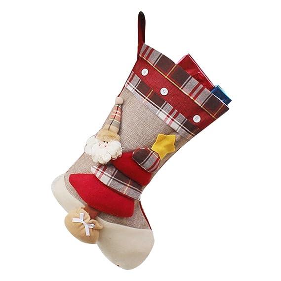 YiLianDa Calcetin De Decoraciones De Navidad Papá Noel Muñeco Bolso Caramelo Para Regalos Calcetines De Navidad: Amazon.es: Ropa y accesorios