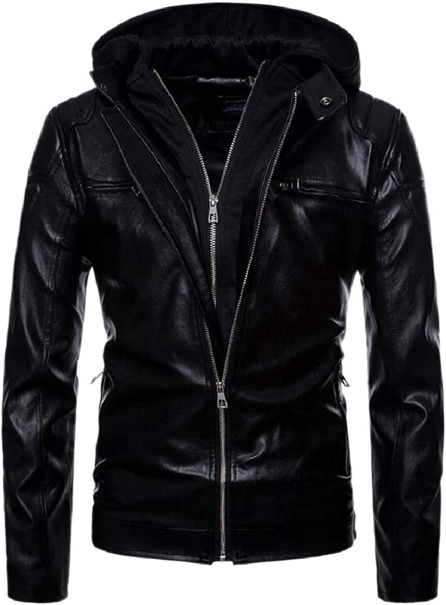 ONTBYB Mens with Zip Motorcycle Faux Leather Biker Hoodie Thick Outwear