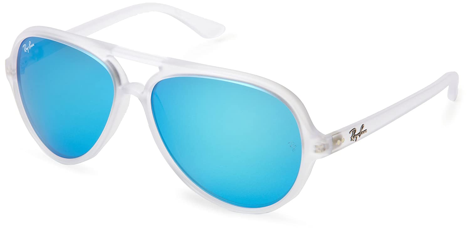 f377696eb Ray-Ban Junior Men's 0RB4125 646/17 59 Sunglasses, Matte Transparent/Crys.  Green Mirror Multil Blue: Amazon.co.uk: Clothing