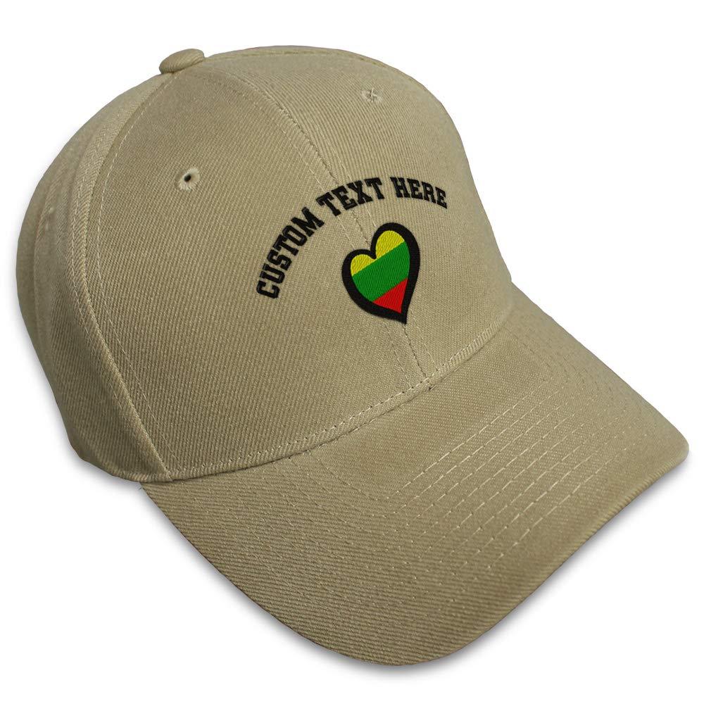 Custom Baseball Cap Lithuania Flag Heart-Shaped Embroidery Acrylic Strap Closure