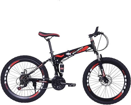 Dapang Bicicleta de montaña, Bicicleta Plegable de 26 Pulgadas con Acero Robusto Ruedas integradas de 6 radios, suspensión Completa de Primera Calidad y Engranaje Shimano de 24 velocidades,11,26