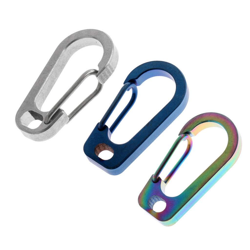 Titanium Alloy Carabiner D-Ring Key Chain Clip Snap Hook Camping Keyring
