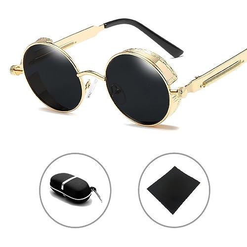 Gafas de sol Metal Ronda Gótico Steampunk Hombres Mujeres Vintage Retro UV400 Sunglasses HUANXIN
